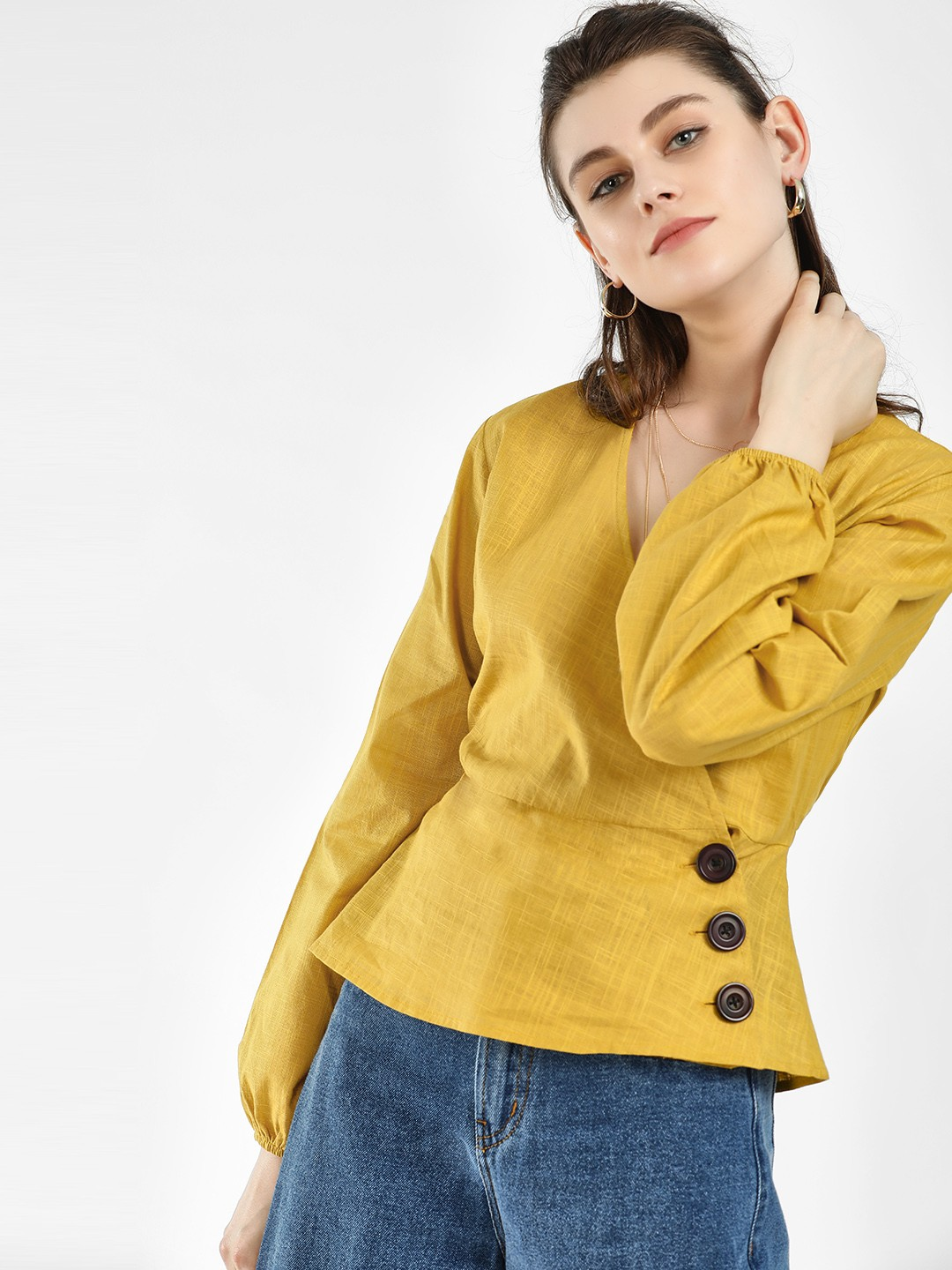 KOOVS Yellow Overlap V-Neck Button Wrap Top 1