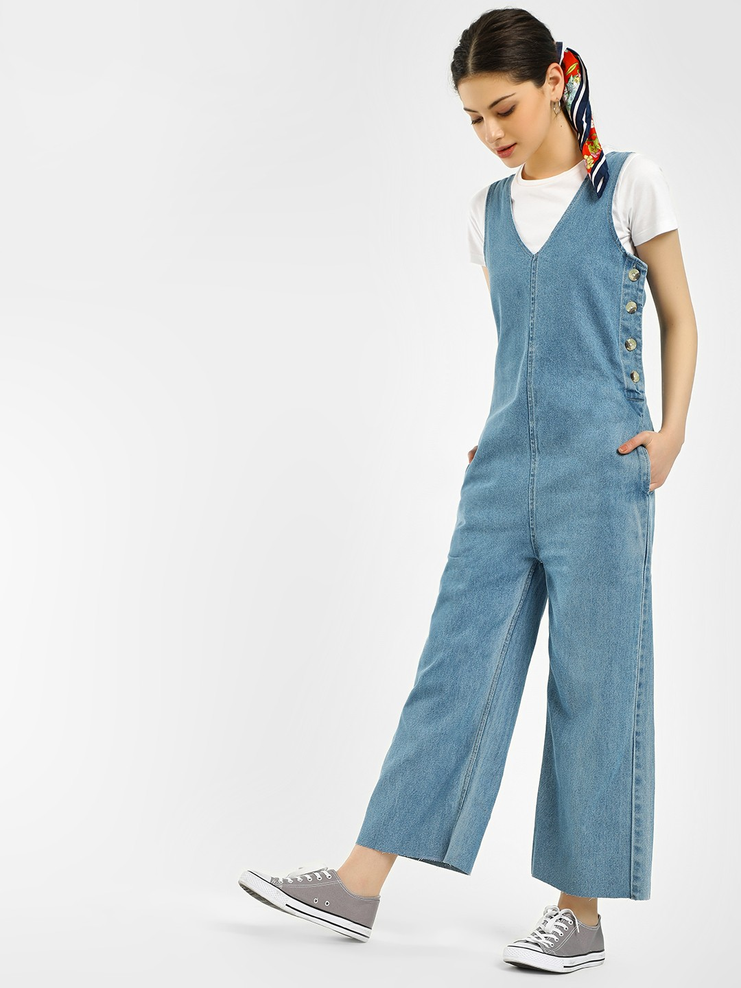 K Denim Blue KOOVS Horn Button Denim Jumpsuit 1