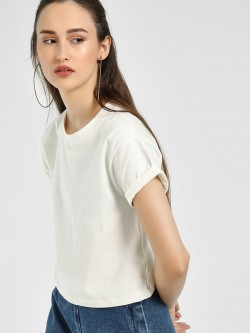 KOOVS Basic Round Neck Crop T-Shirt