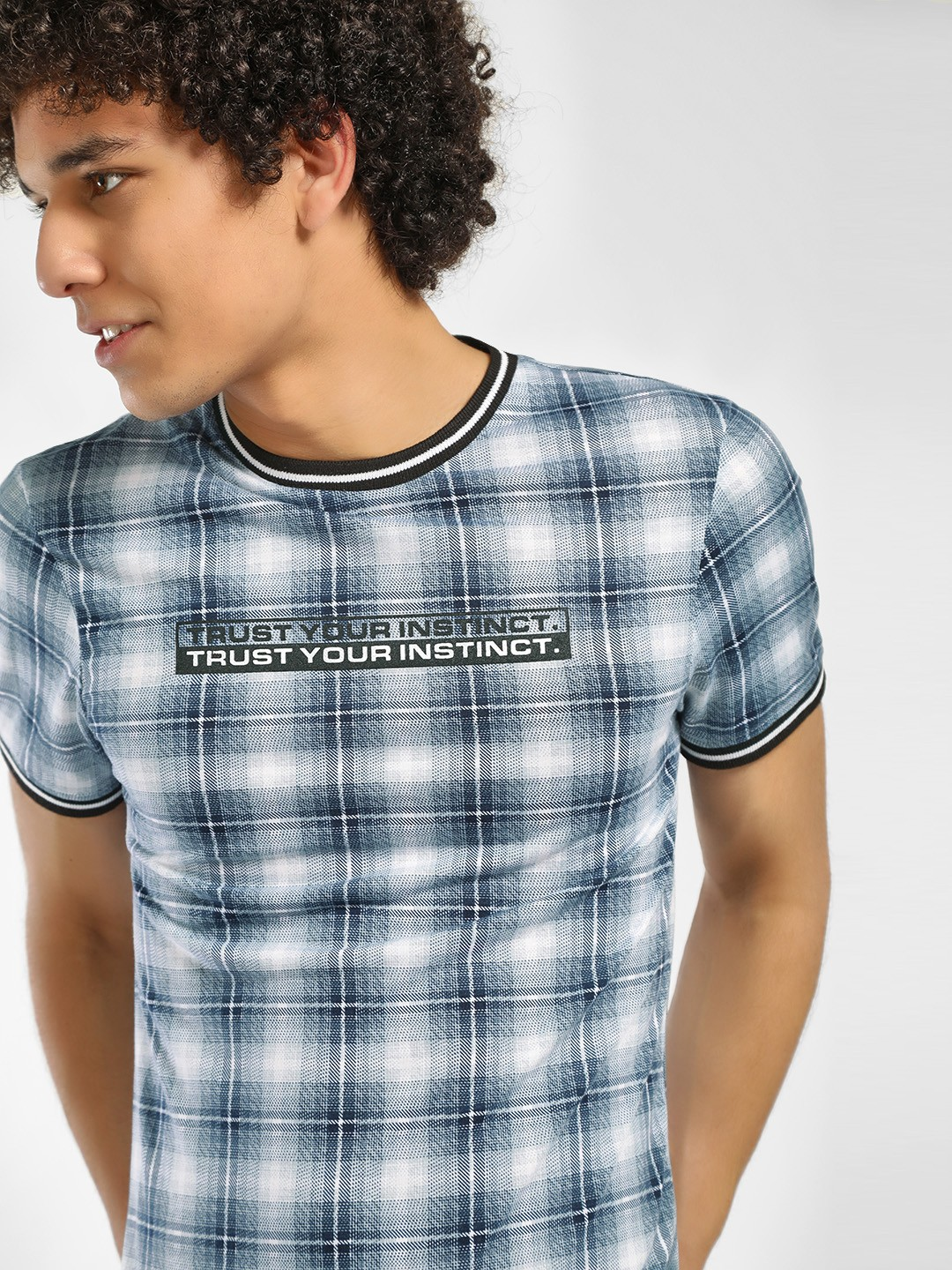 KOOVS Blue Slogan Print Check T-Shirt 1