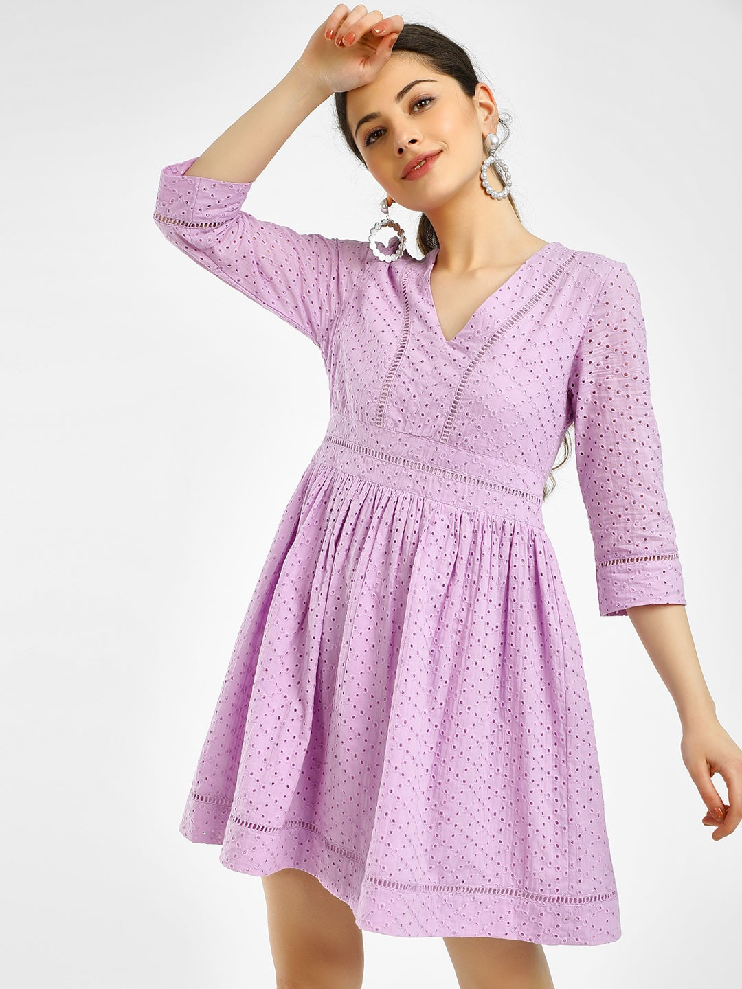 KOOVS Purple Broderie Skater Dress 1