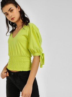 KOOVS Smocked Waist V-Neck Blouse