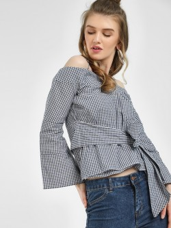 KOOVS Gingham Cold Shoulder Top