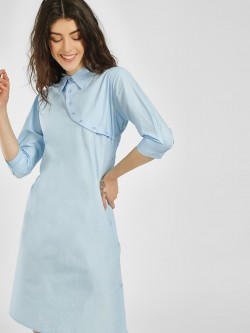 KOOVS Back Cutout Shirt Dress