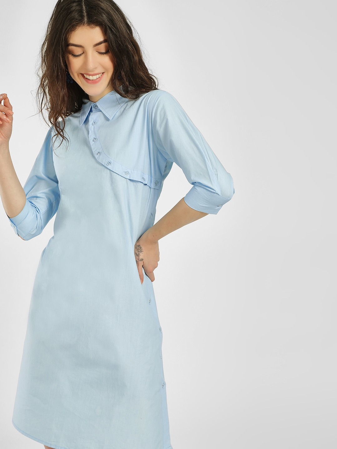 KOOVS Blue Back Cutout Shirt Dress 1