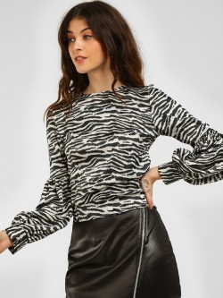 KOOVS Zebra Print Back Tie Top