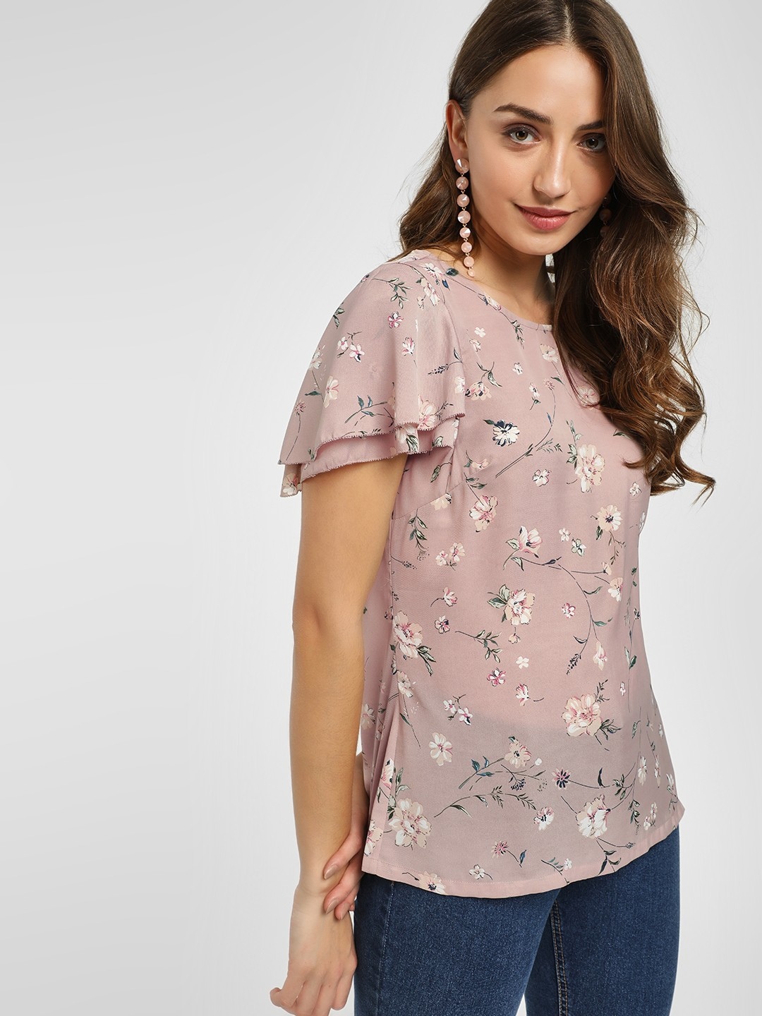 PostFold Blush Dainty Floral Layered Sleeves Top 1