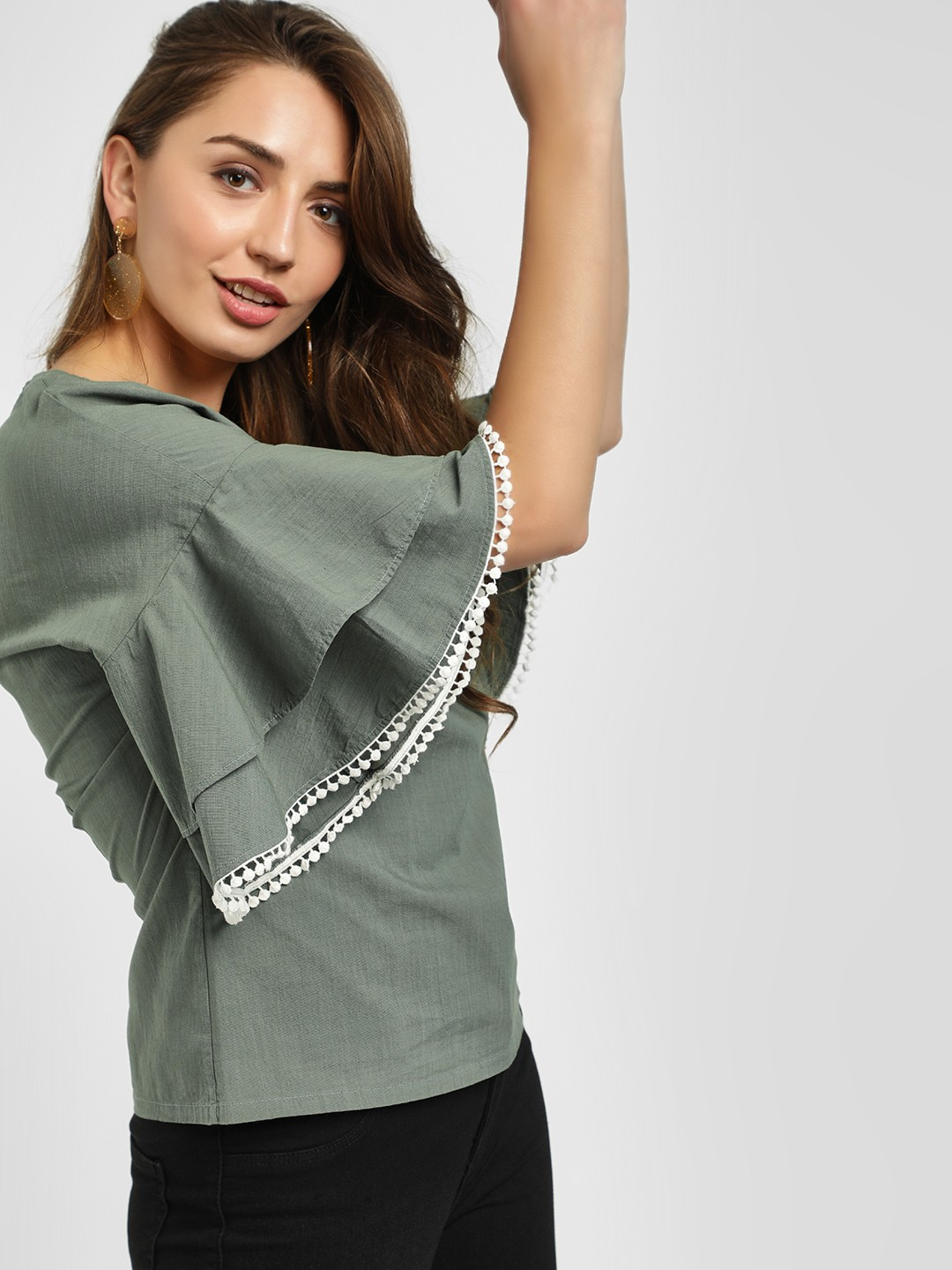 PostFold Olive Layered Sleeve Laced Hem Top 1
