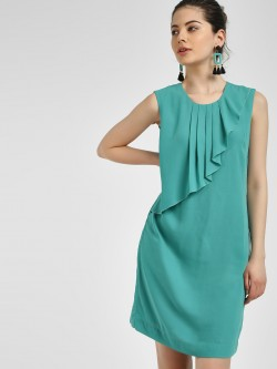 PostFold Pleated Sleeveless Shift Dress
