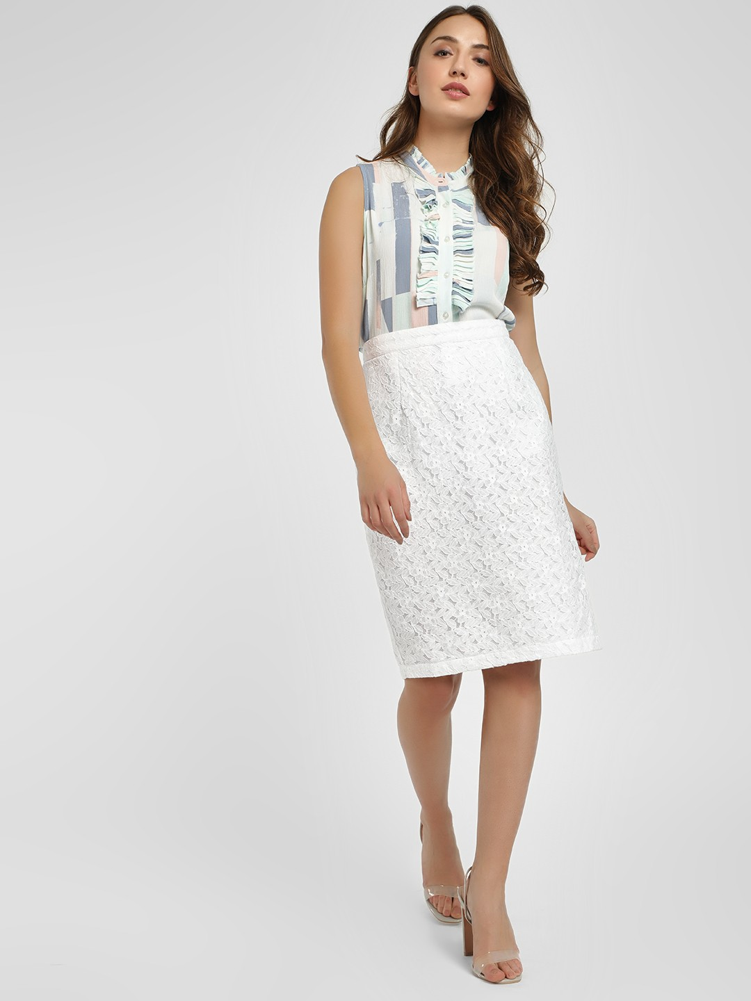 PostFold White Lace Detail Midi Skirt 1