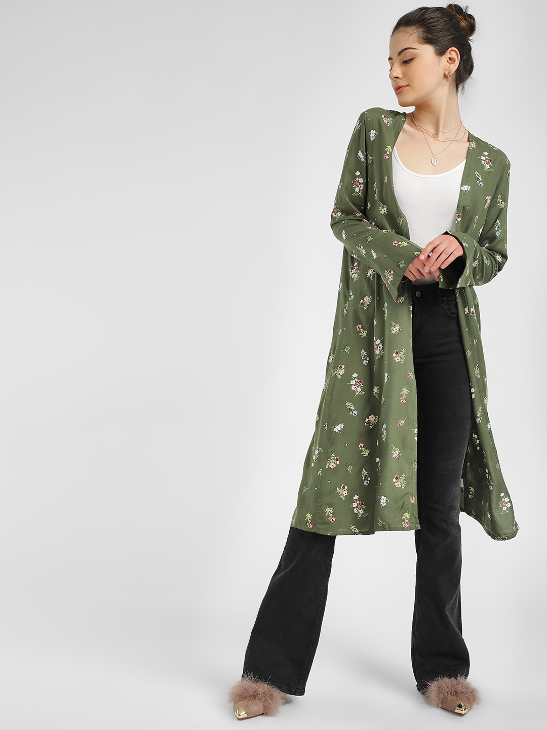 PostFold Green Floral Print Front Open Shrug 1