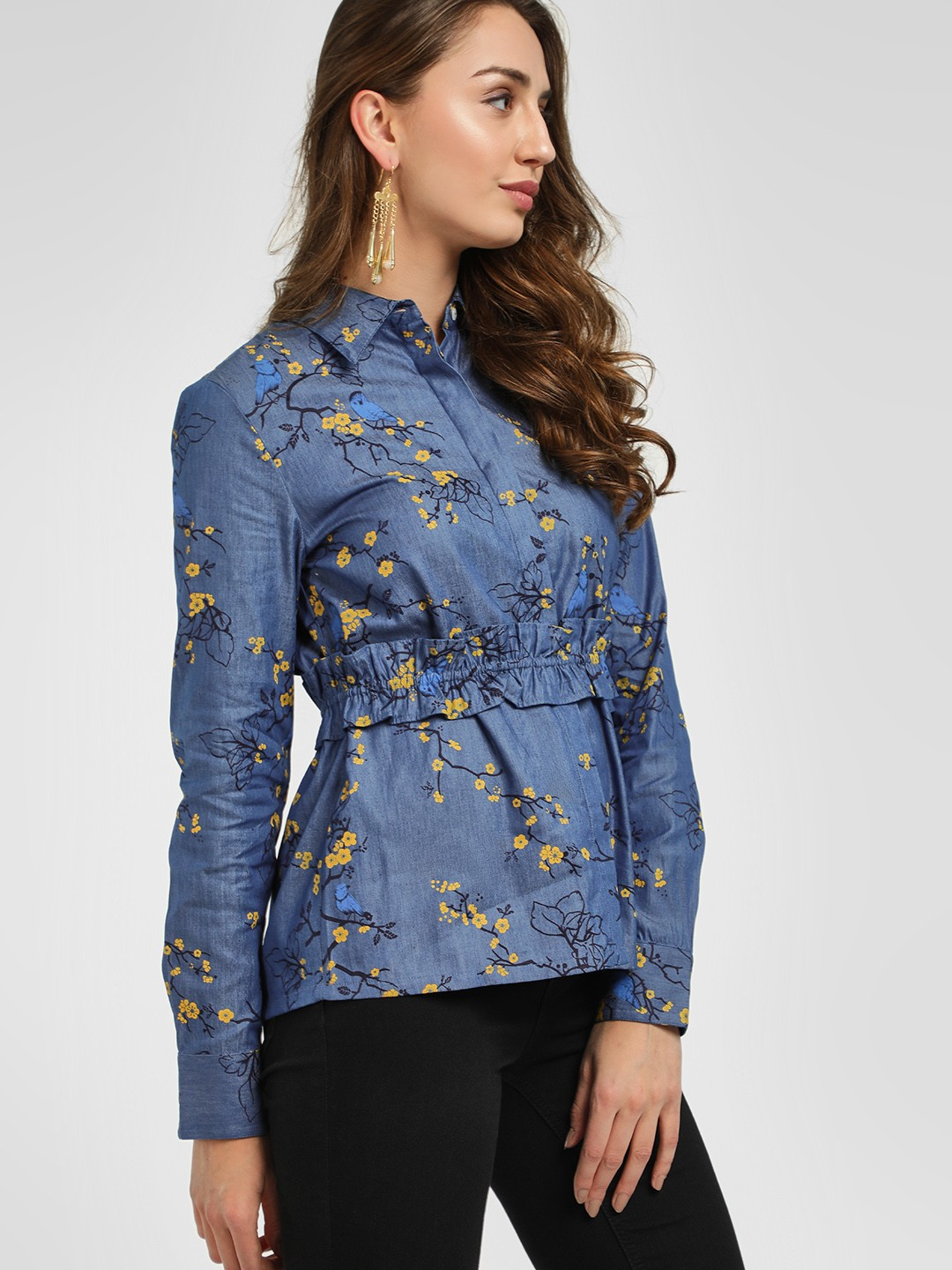 PostFold Blue Belted Floral Casual Shirt 1