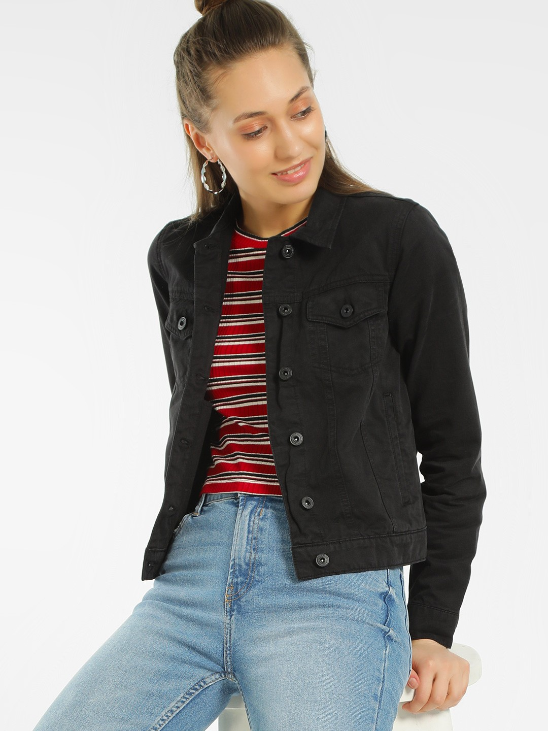 Blue Saint Black Basic Crop Denim Jacket 1