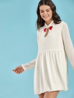 Glamorous Heart Applique Collar Skater Dress