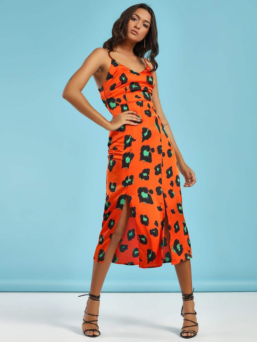 Glamorous Orange Leopard Print Cami Midi Dress 1