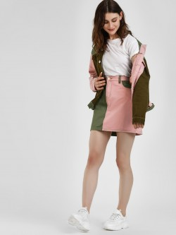 Glamorous Colour Block Denim Mini Skirt