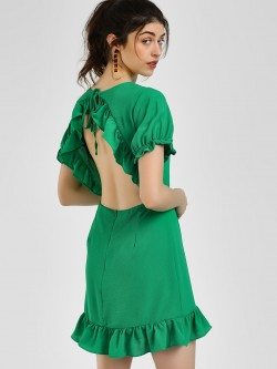 Glamorous Backless Ruffled Shift Dress