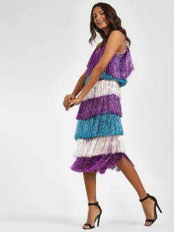 Glamorous Multi-Fringed Cami Midi Dress