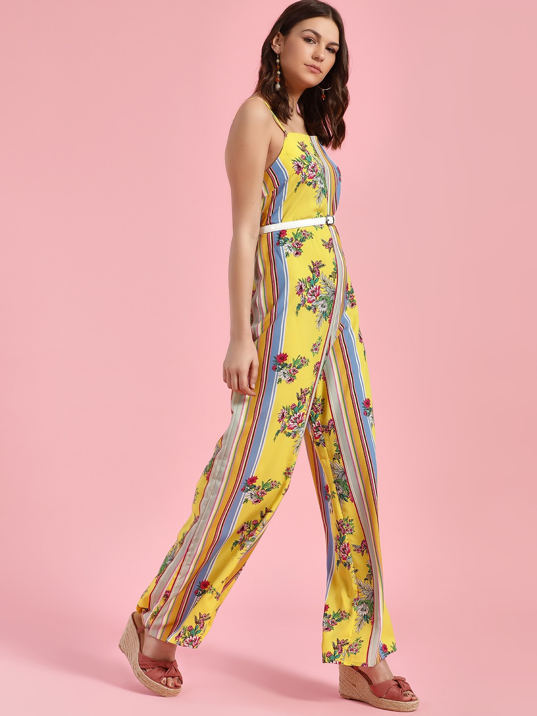 Glamorous Yellow Floral Print & Striped Jumpsuit 1