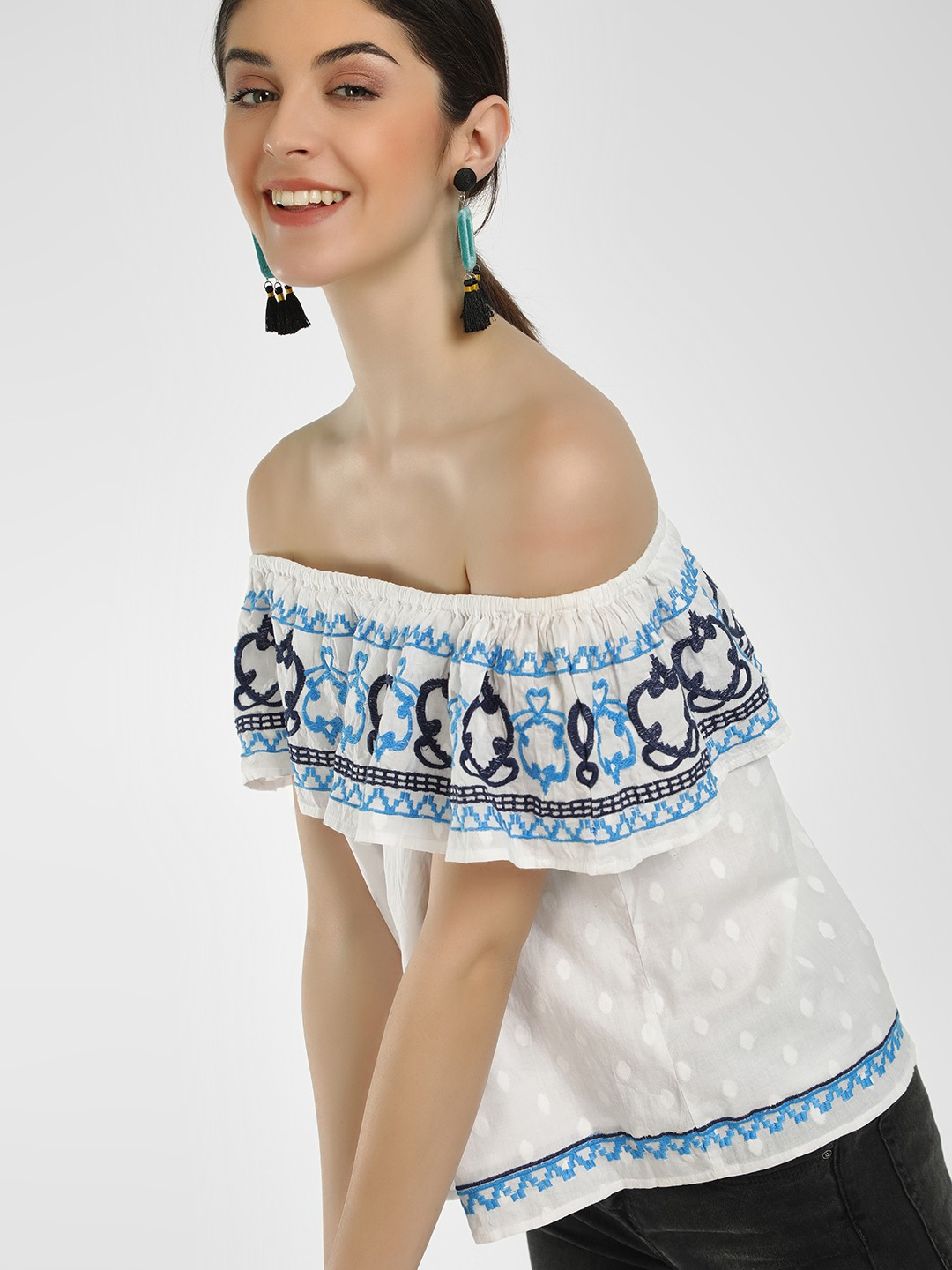Noble Faith White Embroidered Dobby Off-Shoulder Blouse 1