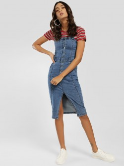K Denim KOOVS Pinafore Buttoned Denim Dress