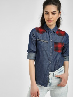 Blue Saint Checkered Panel Denim Shirt