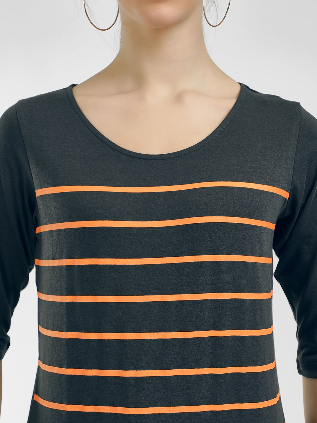 Cult Fiction Grey Striped Long Sleeves T-Shirt 1