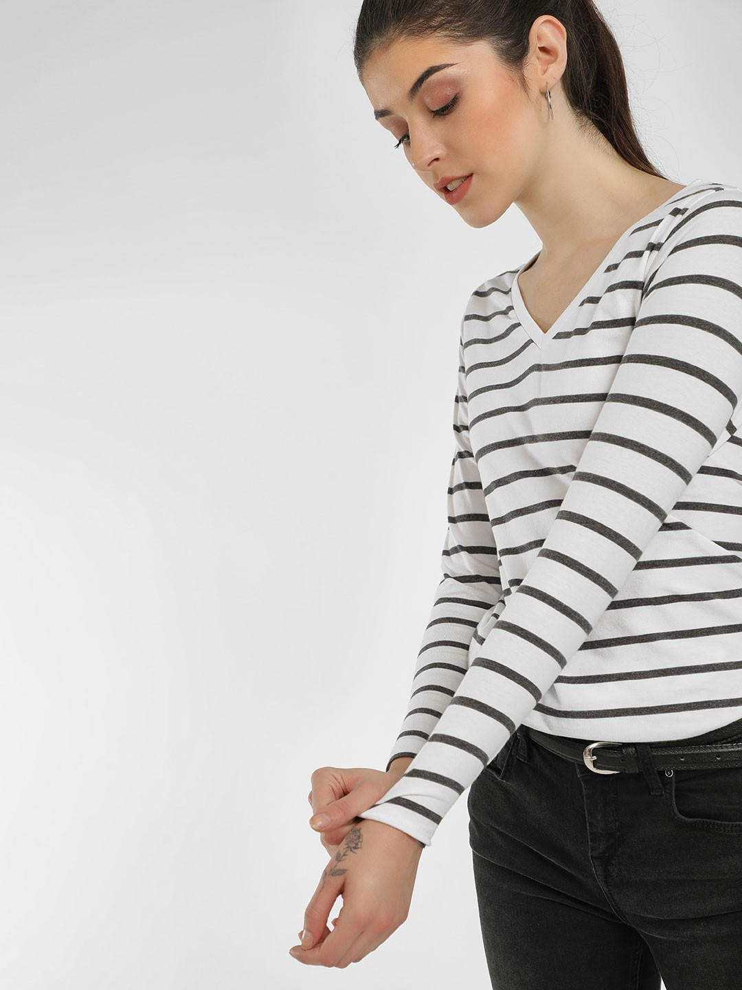 Cult Fiction White Striped Long Sleeves T-Shirt 1