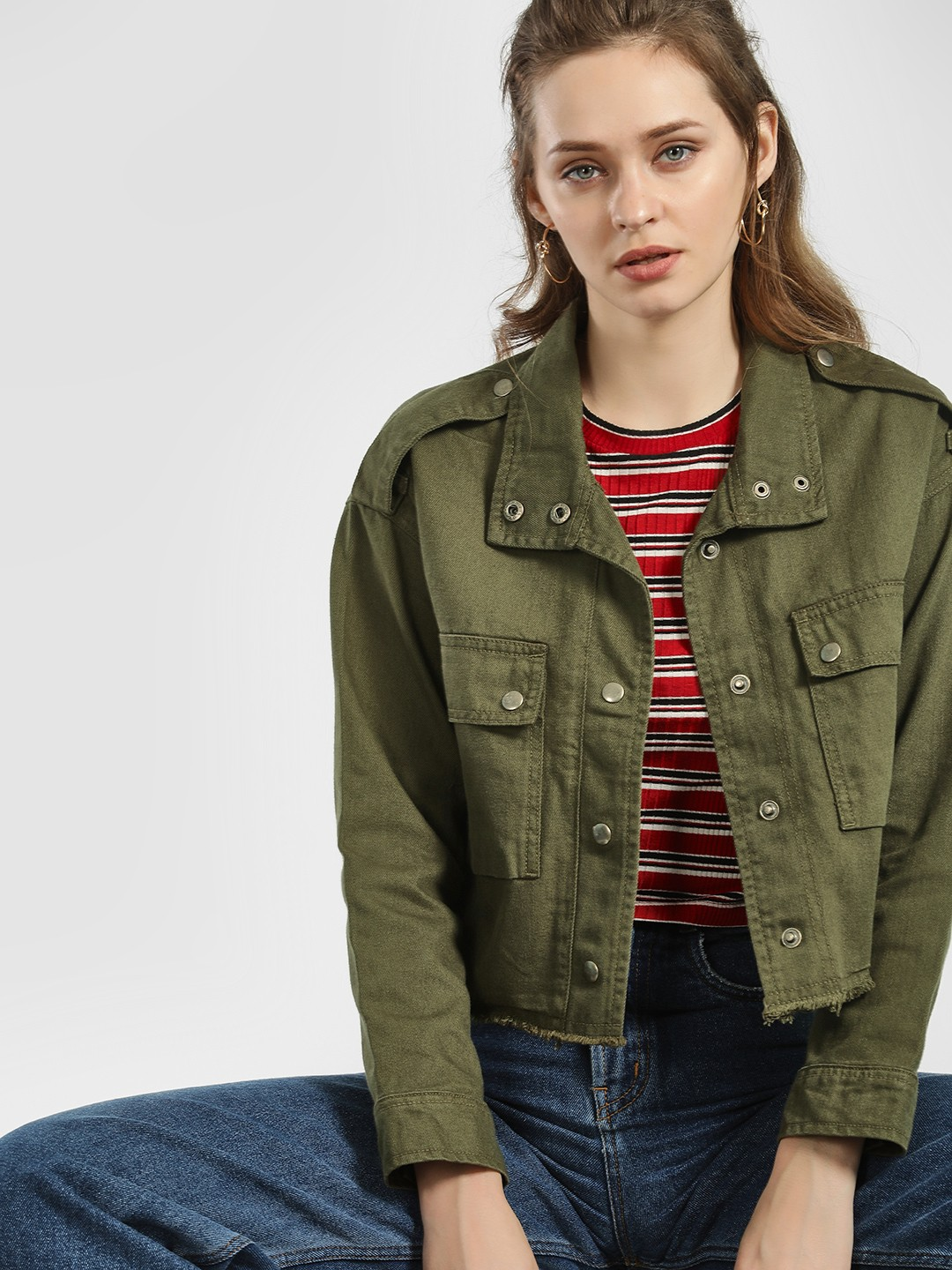K Denim Green KOOVS Twin Pocket Denim Jacket 1