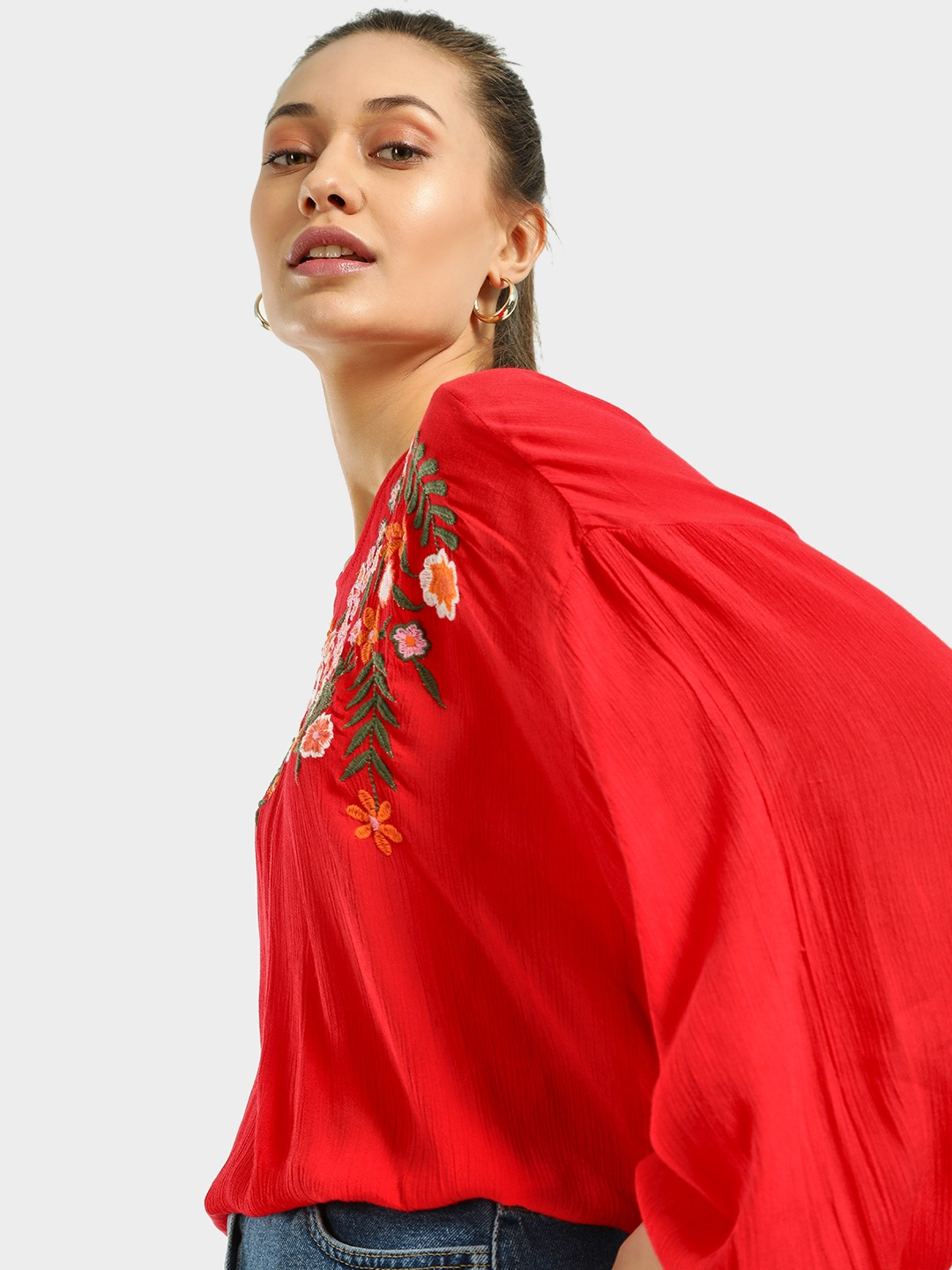 Kisscoast Red Embroidered Batwing Sleeve Blouse 1