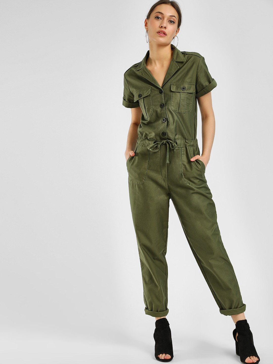 KOOVS Green Button Down Tie-Up Jumpsuit 1