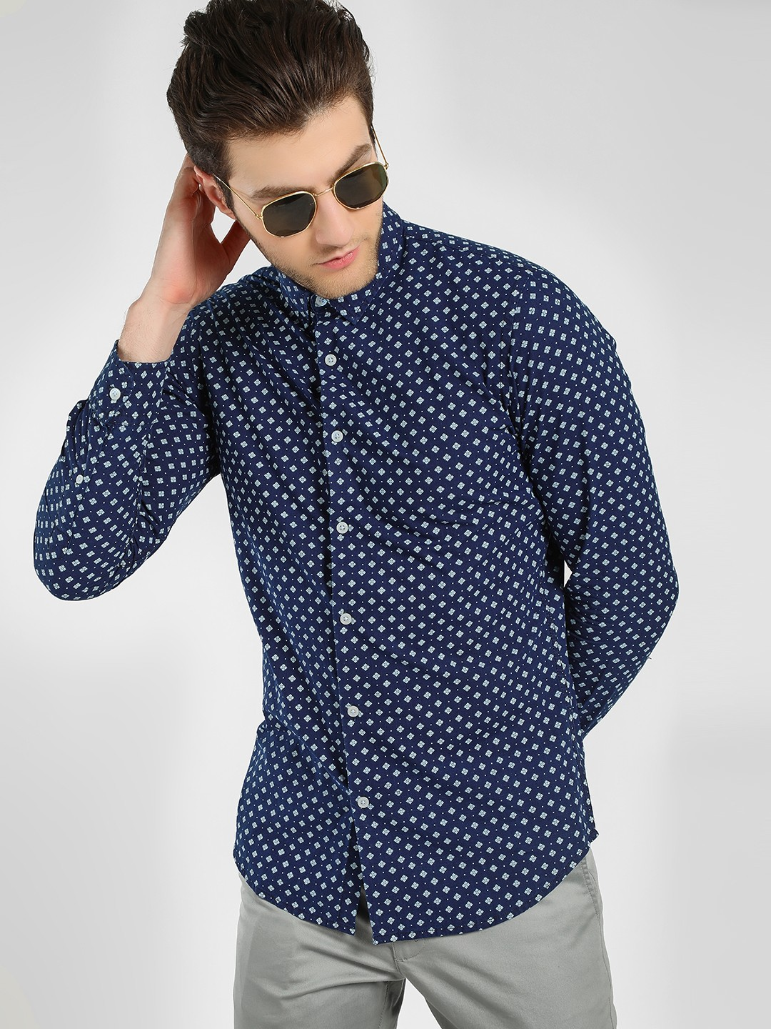 Adamo London Blue Moroccan Polka Dot Print Shirt 1