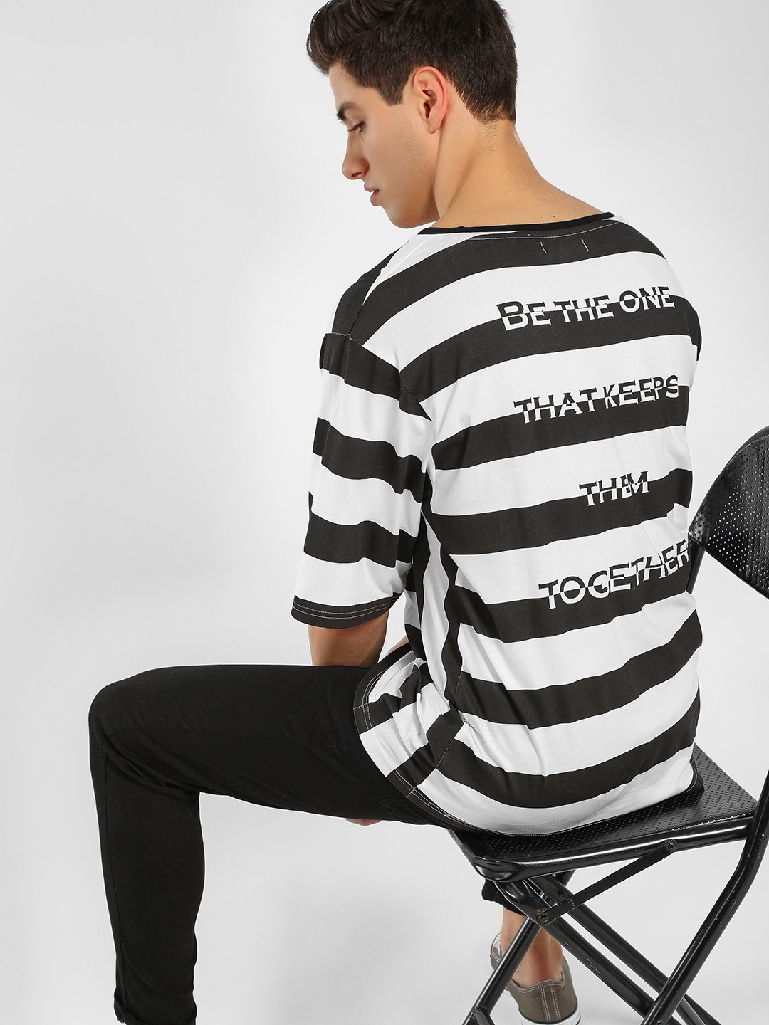 Adamo London Multi Horizontal Striped Oversized T-Shirt 1