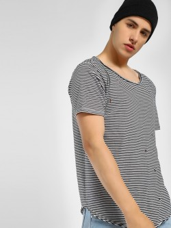 Adamo London Distressed Stripe Oversized T-Shirt