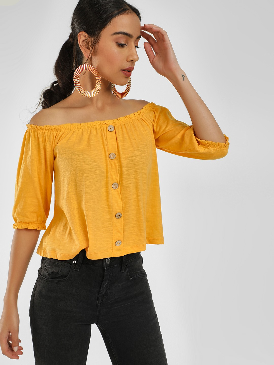 KOOVS Yellow Button Detail Bandeau Top 1
