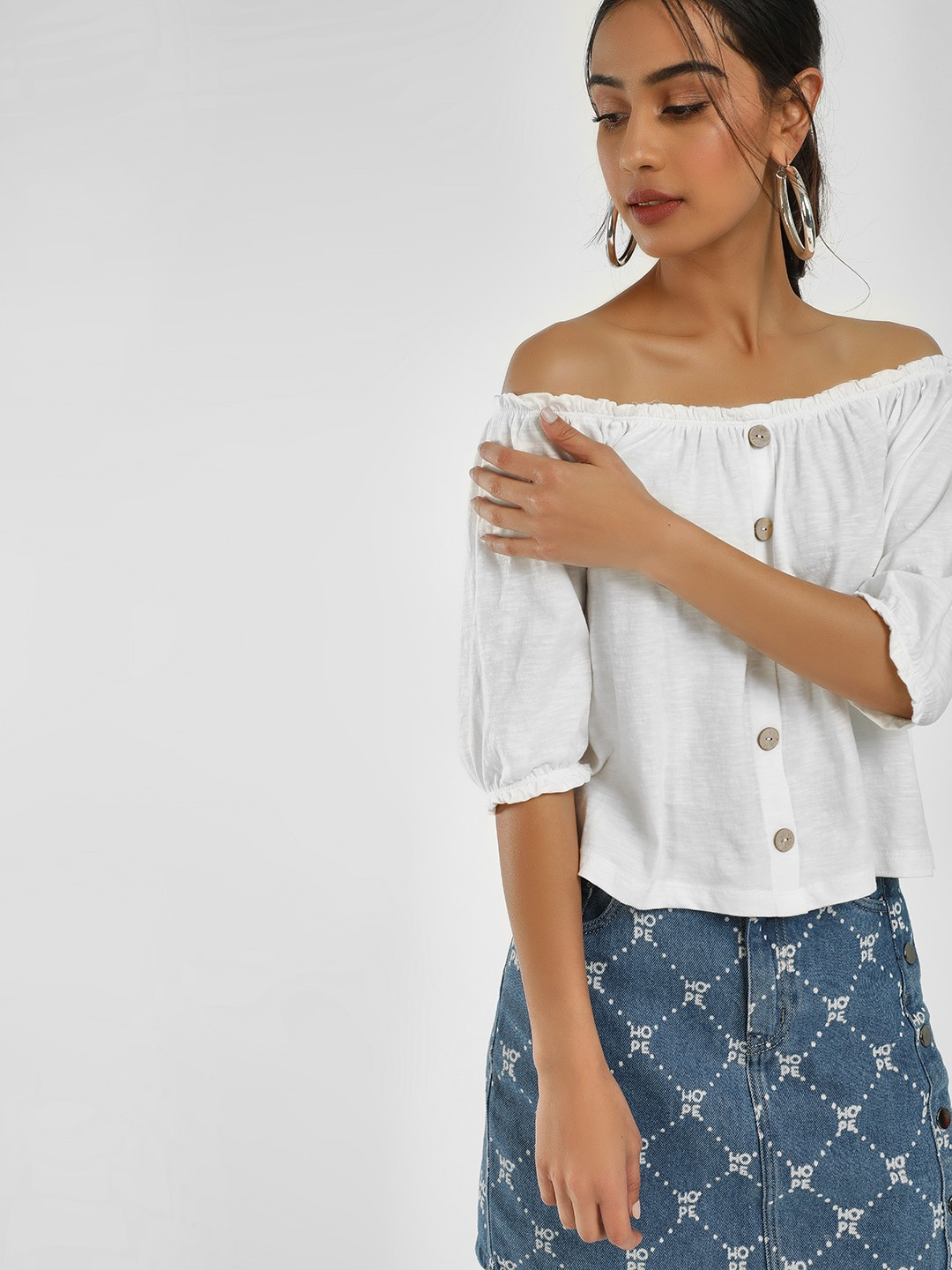 KOOVS White Button Detail Bandeau Top 1