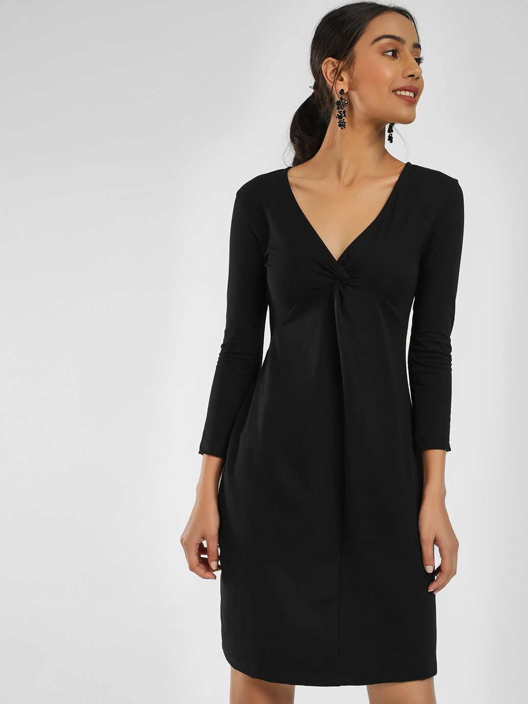 KOOVS Black Twist Front Mini Dress 1