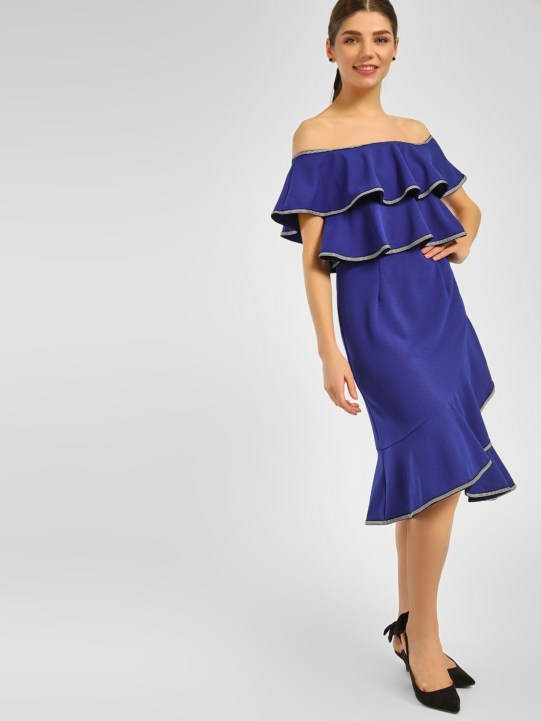 Cover Story Blue Ruffle Tiered Off-Shoulder Dress 1