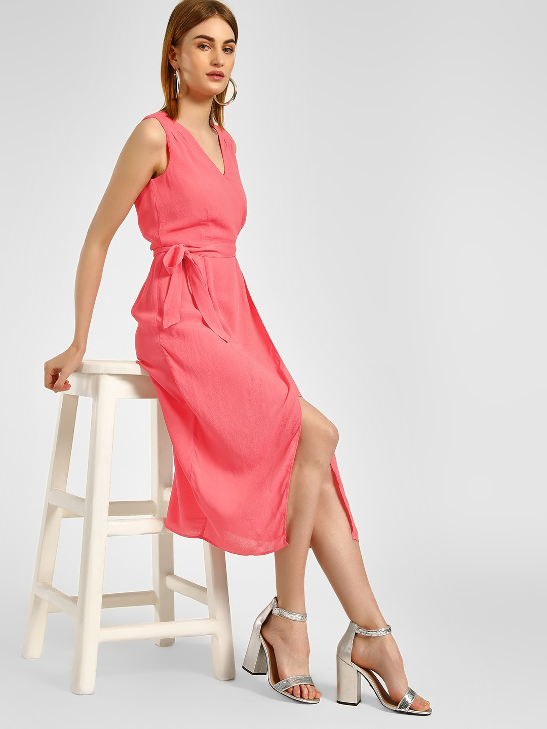 Cover Story Coral Front Wrap Midi Dress 1