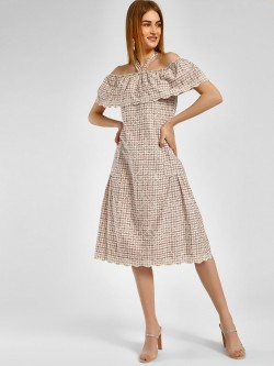 Cover Story Off Shoulder Broderie Midi Dress