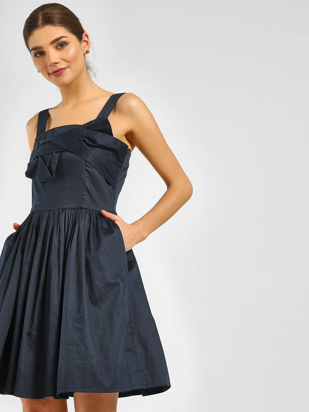 Cover Story Navy Bow Front Skater Dress 1