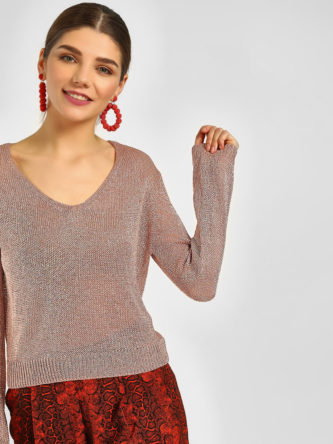 Cover Story Pink V Neck Knitted Pullover 1