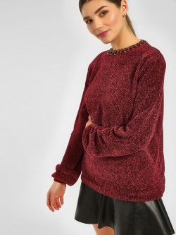 Cover Story Neck Embellished Knitted Pullover