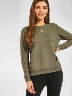 Cover Story Star Embroidered Mesh Sweatshirt