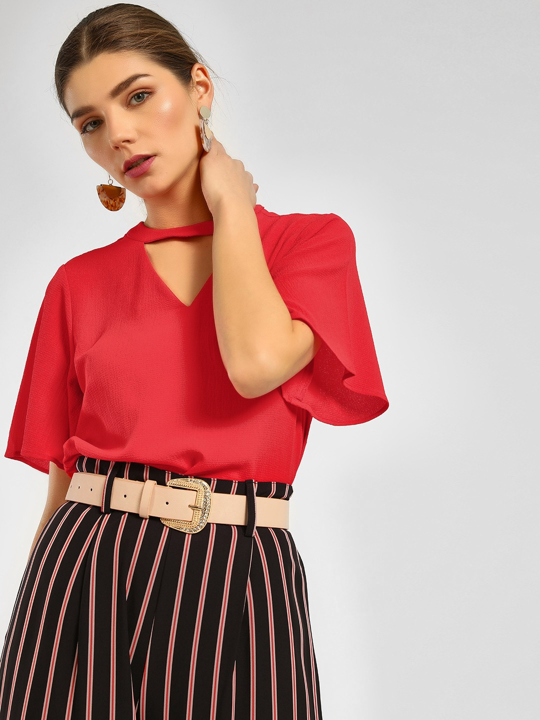 Cover Story Red Flared Sleeve Choker Top 1