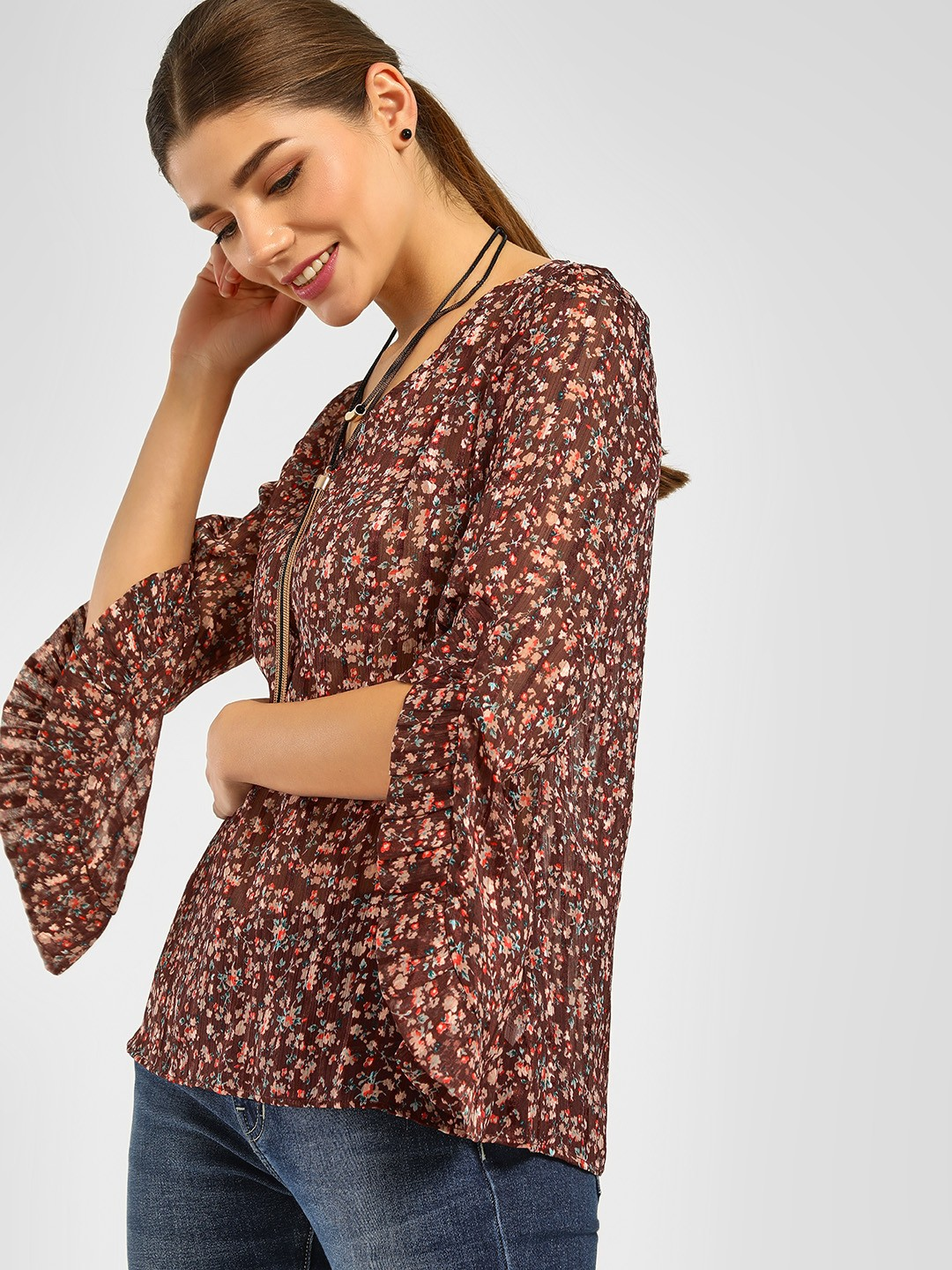 Cover Story Print Ditsy Floral Print Sheer Blouse 1