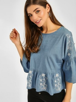 Cover Story Embroidered Bell Sleeves Top