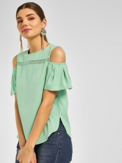 Cover Story Lace Trim Cold Shoulder Blouse