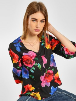 Cover Story Floral Print Blouson Shirt