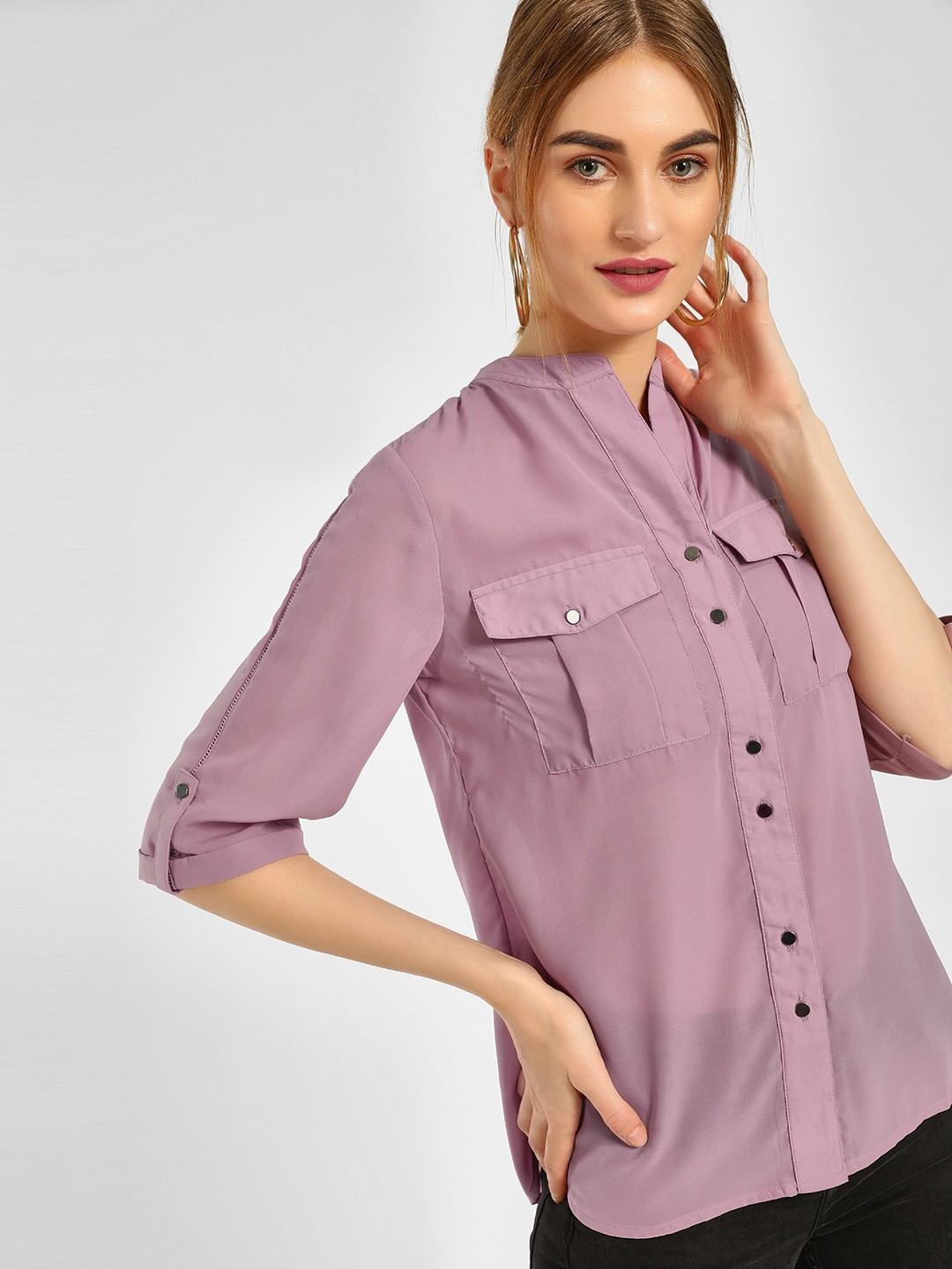 Cover Story Lilac Casual Lace Trim Shirt 1